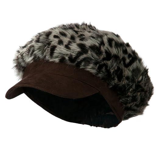 4a2e864ae1d6 Animal Print Fur Newsboy and Scarf Set - Dark Brown Leopard OSFM at ...