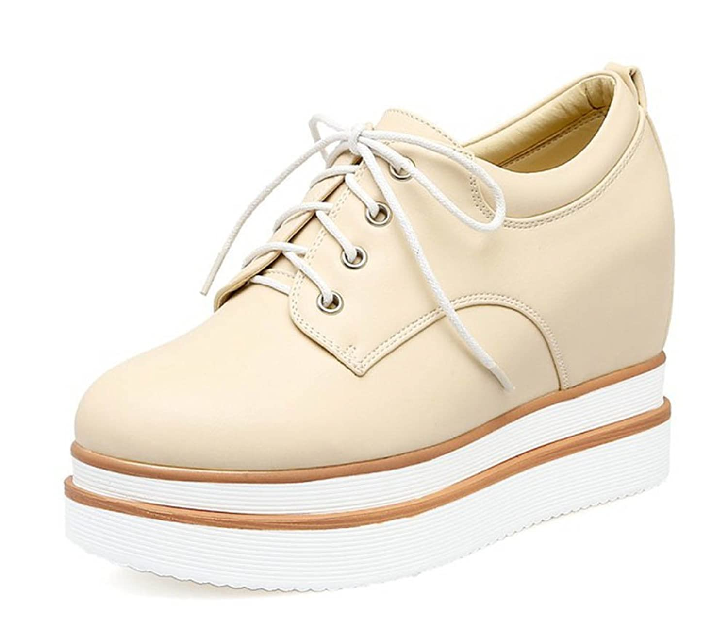 Aisun Women's Casual Studded Round Toe Elevator High Heeled Lace Up Platform Sneakers Shoes