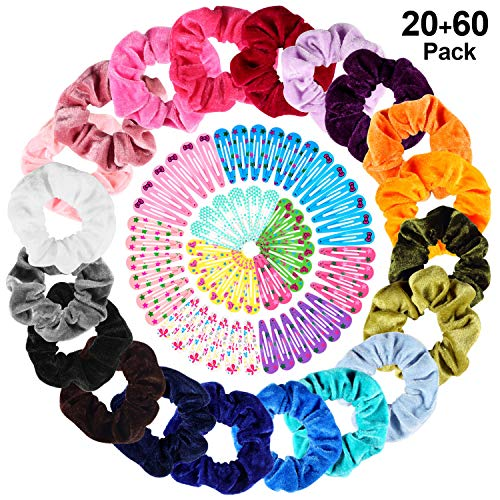 20 Pcs Hair Scrunchies Elastic Velvet Hair Bands, TUTUWEN Handmade Soft Hair Ties Ropes Hair Scrunchy for Women Girls[20 Assorted Colors], Bonus with 60pcs Hair Clips of 10 colors