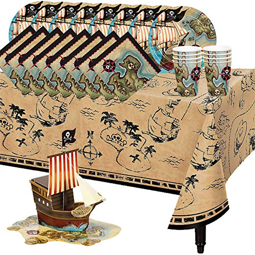 - Setonware 58 Piece Pirate Birthday Party Supplies Set, 3d Pirate Ship Centerpiece Treasure Map Table Cover Paper Napkin Plate Cup Plastic Fork Spoon Knife Utensils Accessories Kit, Serves 8