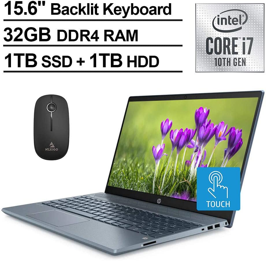 2020 HP Pavilion 15 FHD 1080P Touchscreen Laptop, Intel Core i7-1065G7 up to 3.9 GHz, MX250 4GB, 32GB RAM, 1TB SSD (Boot) + 1TB HDD, Backlit KB, Win10 + NexiGo Wireless Mouse Bundle