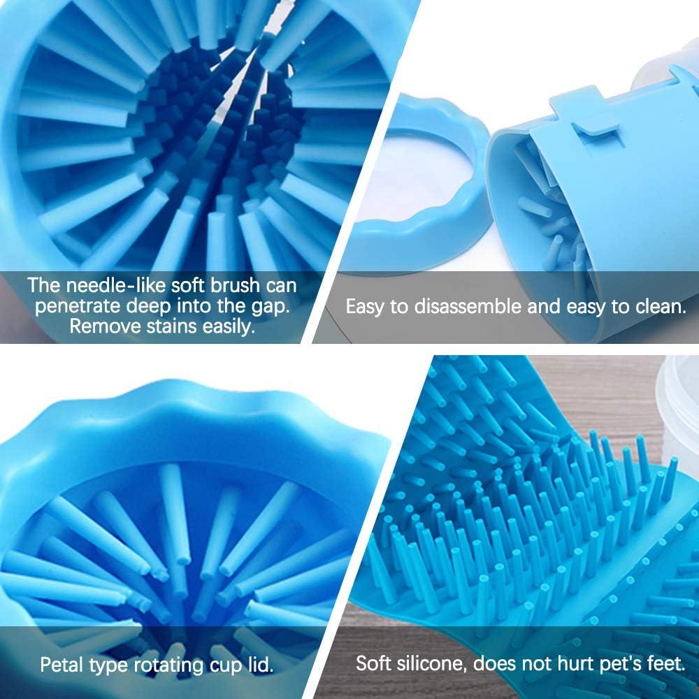 LZYMSZ - Lavadora de pies para mascotas, portátil, cepillo de limpieza de pata de perro, taza de silicona suave para exteriores con toalla para patas ...