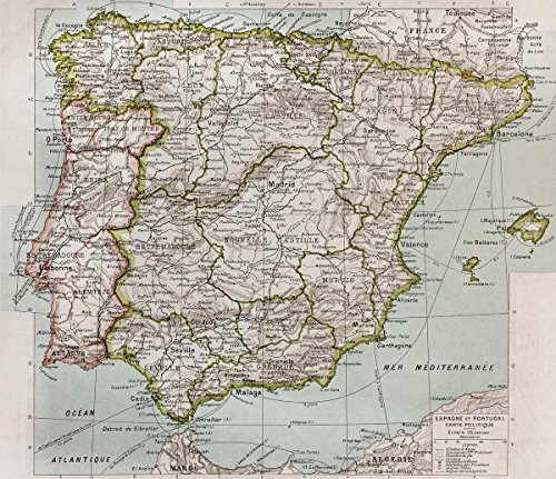 Gifts Delight LAMINATED 28x24 Poster: Political Map - Map Spain by Gifts Delight