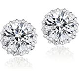 Sterling Silver 100 Facets Cubic Zirconia Halo Stud Earrings