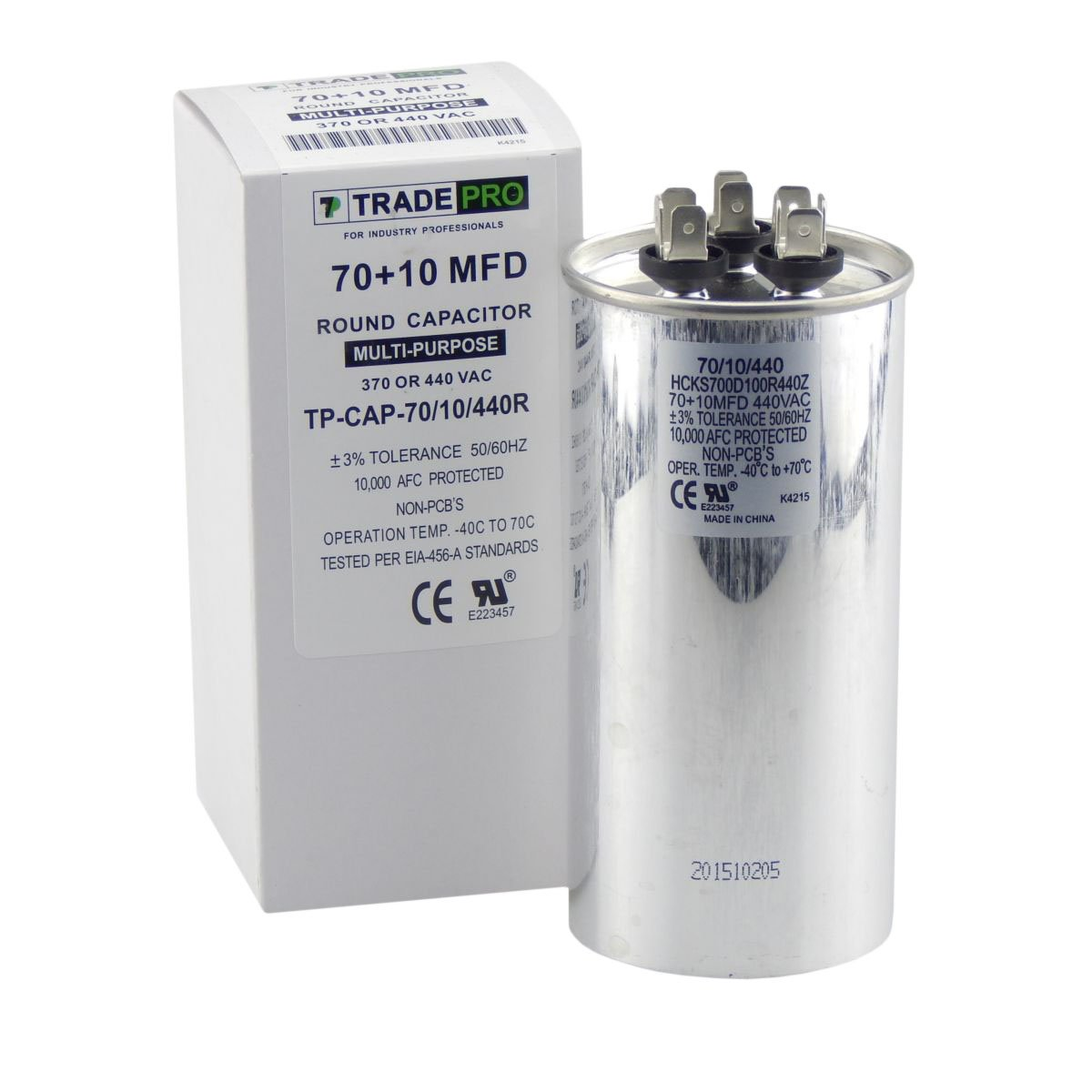 70/10 MFD Replaces Both 440 and 370 Volt Round Run Capacitors Dual Capacitor TradePro 70 + 10