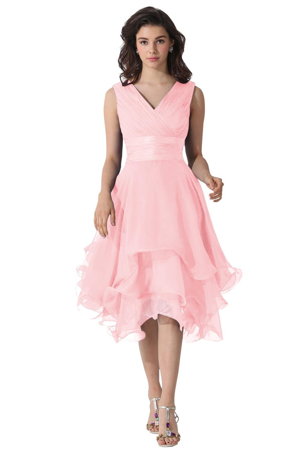 KAMA BRIDAL Double V-neck Mid Length A-line Chiffon Formal Prom Mother Dresses US14 Blushing Pink