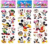 6 Sheets Puffy Dimensional Scrapbooking Party Favor Stickers + 18 FREE Scratch and Sniff Stickers - MICKEY, MINNIE MOUSE DISNEY