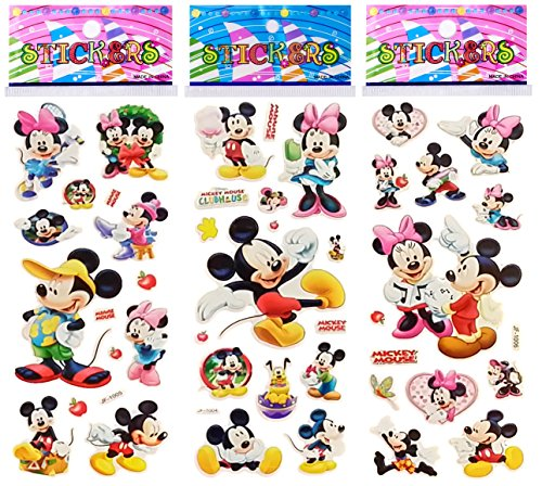 Disney Stickers For Scrapbooking - 6 Sheets Puffy Dimensional Scrapbooking Party Favor Stickers + 18 FREE Scratch and Sniff Stickers - MICKEY, MINNIE MOUSE DISNEY