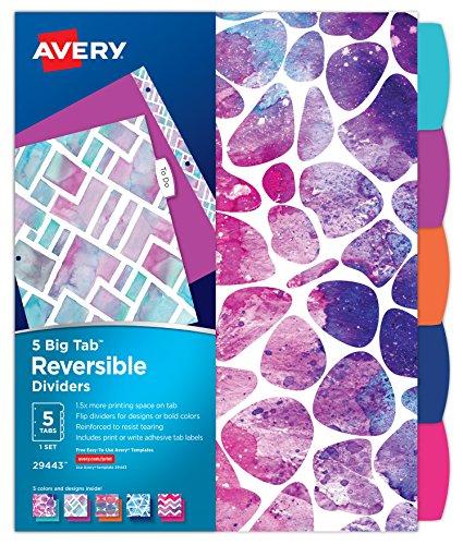 Avery Big Tab Reversible Fashion Dividers, Assorted Geometric Designs, 5-Tab Set (29443)