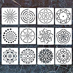 12 Pack Mandala Dotting Stencils Template,Mandala Dotting Stencils Mandala Dot Painting Stencils Painting Stencils for Painting on Wood,Airbrush and Walls Art
