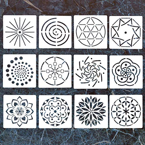 12 Pack Mandala Dotting Stencils Template,Mandala Dotting Stencils Mandala Dot Painting Stencils Painting Stencils for Painting on Wood,Airbrush and Walls Art