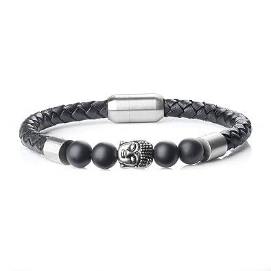 Bracelet homme cuir et pierre semi precieuse