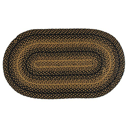 IHF Home Decor Jute Braided Rug Oval Indoor Outdoor Area Carpet Black, Tan Floor Hand Woven Ebony Design Natural Doormat – 20 x30 to 8 x 10 5 x8