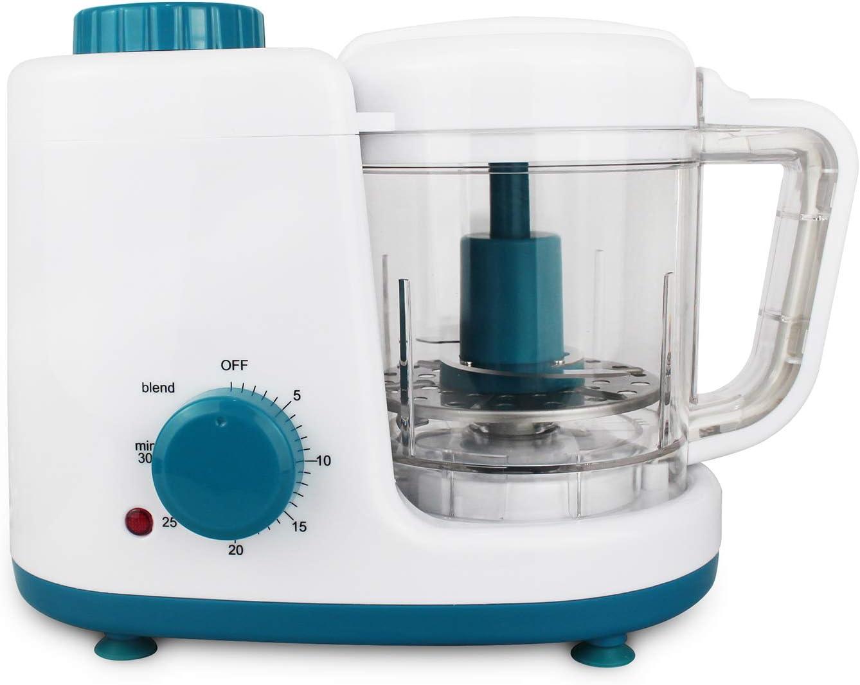 Leogreen - Robot Alimentos para Bebés, Licuadora de Alimentos para Bebés, Blanzo/Azul, Función: Vaporera y Licuadora 2 en 1, Voltaje: 220-240 V