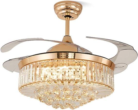 DM LED luz Ventilador de Techo Invisible 4 Cuchilla retráctil 42 ...