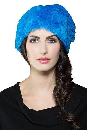 Amazon.com  Adrienne Landau Women s Cerulean Rex Rabbit Knit Fur Hat ... f5054185fc4