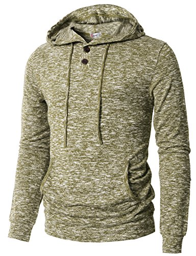 H2H Men Buttoned Half Placket Long Sleeves Drawstring Hoodie Sweatshirt Olive US 3XL/Asia 4XL (Buttoned Placket)