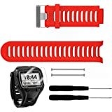 TUSITA Replacement Silicone Strap WristBand Accessory for Garmin Forerunner 910XT with Screen Protector (Red)