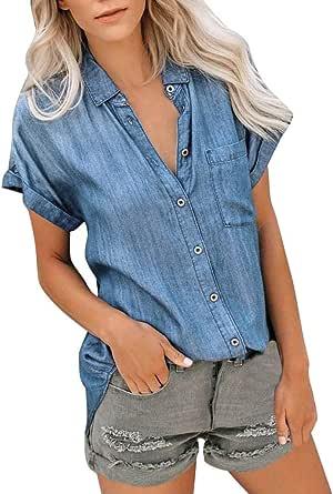 Hokoaidel Camisa de Mujer Mujer Casual Camisa Moda para Mujer ...