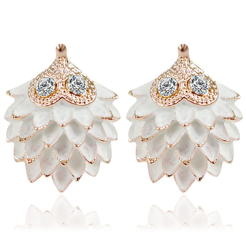 d38e175aafae Dana Carrie Tornillo simple oreja chapado oscuro asado blanco pequeño  diamante blanco tornillos de oreja 70