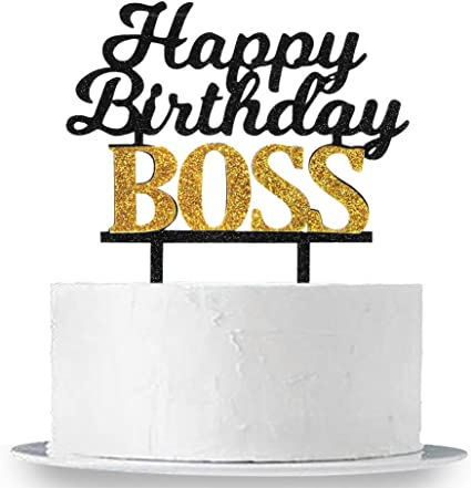 Terrific Amazon Com Innoru Happy Birthday Boss Cake Topper Glitter Funny Birthday Cards Online Alyptdamsfinfo