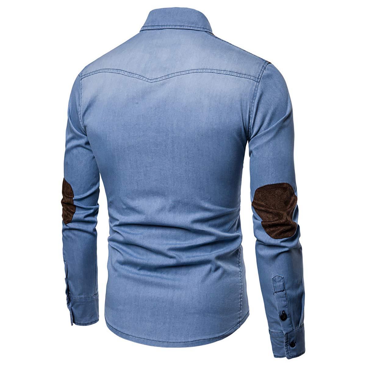 AOWOFS Mens Denim Shirt Casual Fashion Stitching Suede Washed Button Long Sleeve Work Shirt
