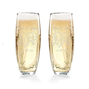 Gifts Infinity Engraved Wedding Champagne Flutes Set of 2 Personalized Toasting Glasses (Dove)