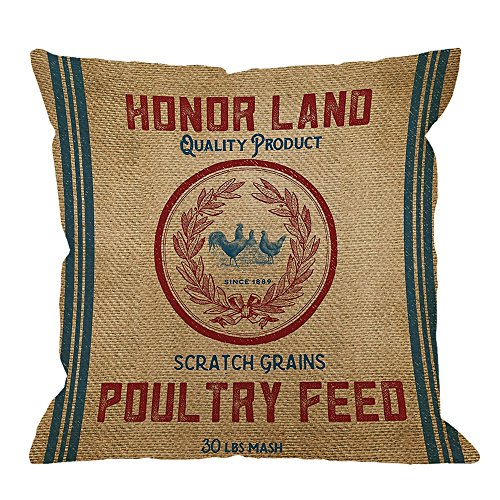 HGOD DESIGNS Throw Pillow Case Vintage Burlap Poultry Feed Sack Cotton Linen Square Cushion Cover Standard Pillowcase for Men Women Kids Home Decorative Sofa Armchair Bedroom Livingroom 18 x 18 (Vintage Feed)