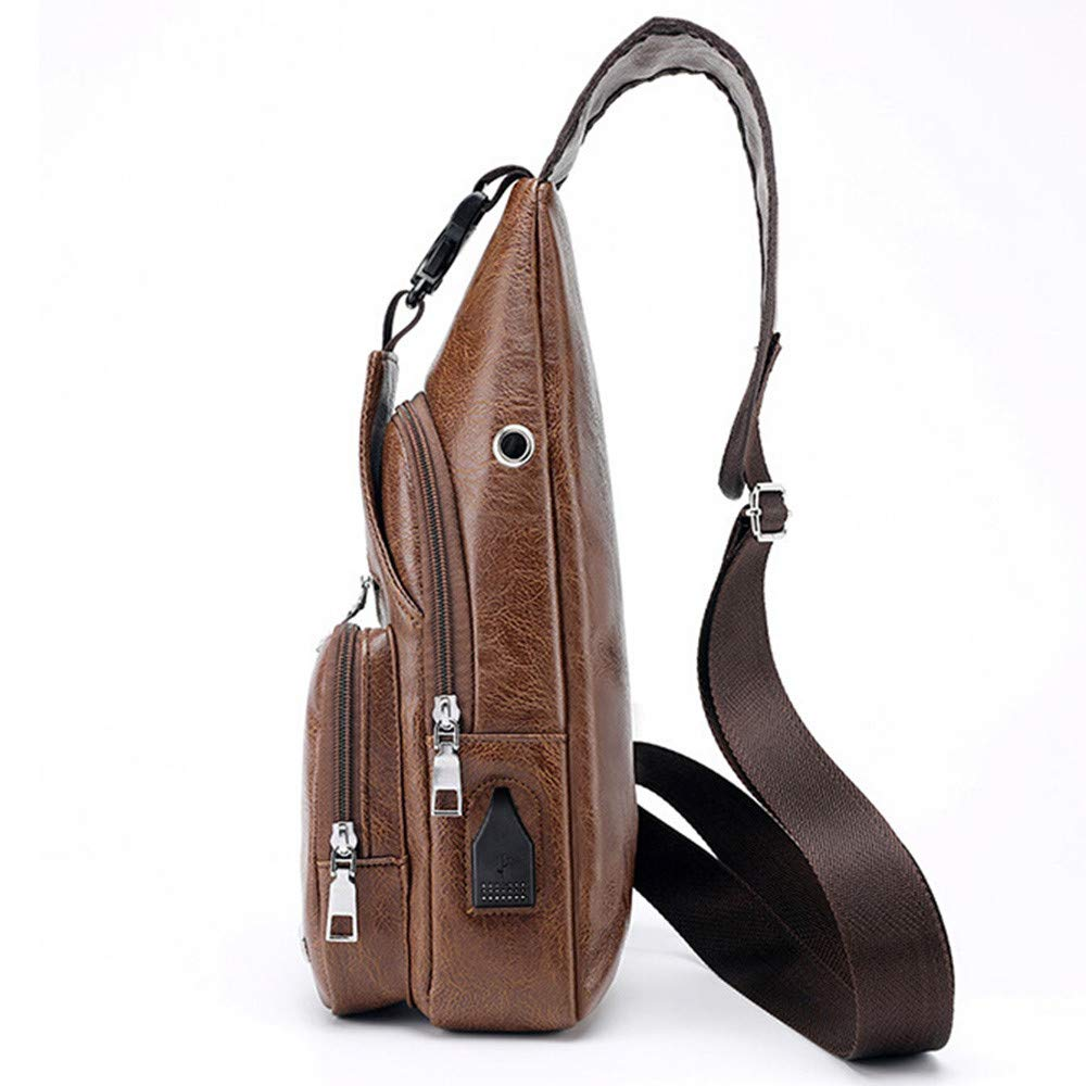 5e14069db Amazon.com: EnjoCho Men's Crossbody Bags Men's Chest Bag Designer Messenger  Bag Leather Shoulder Bags 2019 Travel (Brown): Beauty