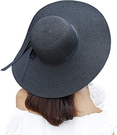 Women/'s Large Black//White Straw Hat with Black Ribbon Summer Sun Protection
