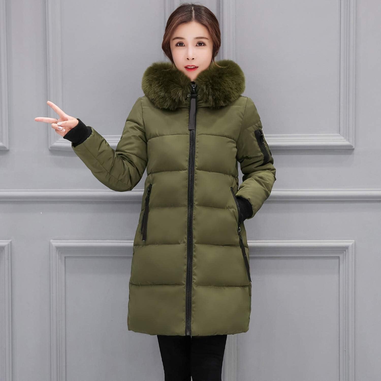 Heat-Tracing Prefect,F-ur Collar Women Winter Jacket Warm Thicken Long Women Coat Outerwear,Light Green,XXL