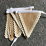 DYLANDY Rustic Scalloped Lace-Trim Burlap Pennant Banner Flags Wedding Party Decoration