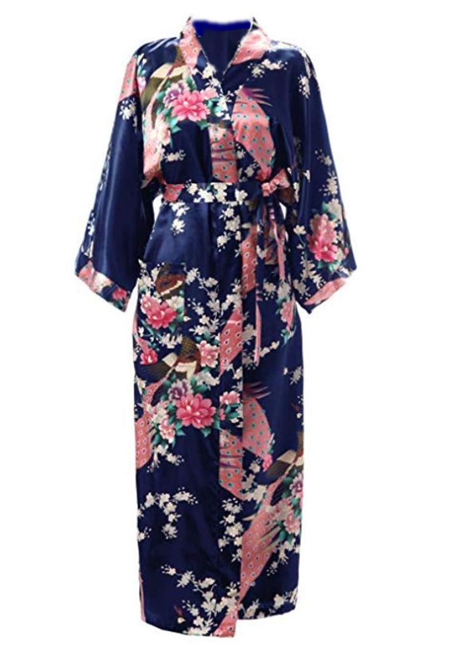 Version Upgrade Women's Japanese Style Kimono Bathrobe Night Gown Satin Fabric (Dark Blue)
