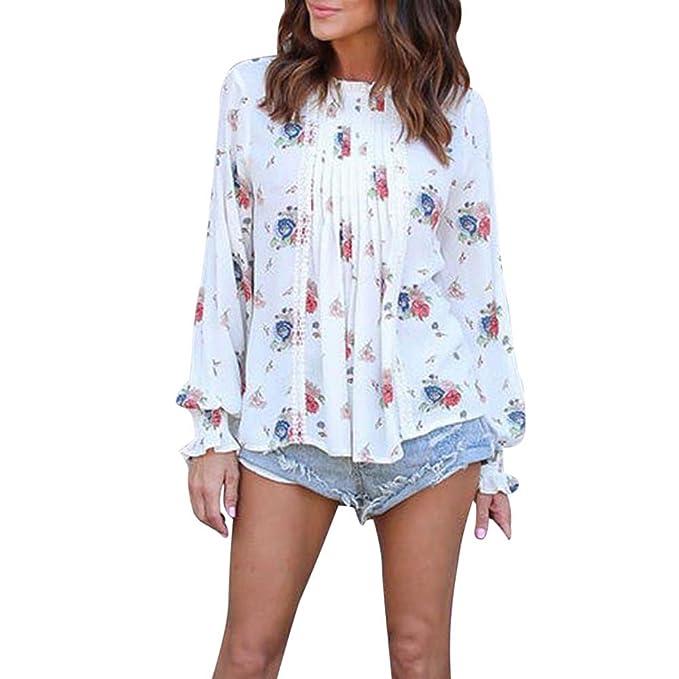 Camisa de Manga Larga para Mujer Moda Blouses del Sexy Impresión Floral Blusa  Casual Gasa Tops Estampados Camiseta Camisa Pulóver  Amazon.es  Ropa y ... 427d84136b15