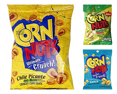 Corn Nuts Crunchy Corn Kernels Variety Bundle, 4 oz bags (Pack of 6) includes 2 Bags Ranch Flavor + 2 Bags Chile Picante Flavor + 2 Bags Jalapeno ()