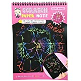 Mziart Rainbow Scratch Art Paper Doodle Pad Drawing Notes for Kids (10-Sheets, Large Size Pink)