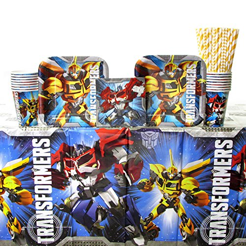 Transformers Party Supplies Pack for 16 Guests | Transformers Plates and Napkins Set | Straws, Dessert Plates, Beverage Napkins, Cups, and Table Cover | Optimus Prime and Bumblebee Birthday Party ()