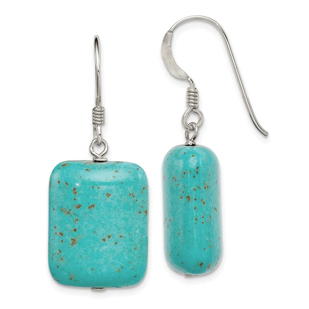 Solid 925 Sterling Silver Dyed Howlite Earrings 33mm x 15mm