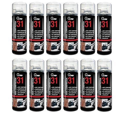 Aria compressa spray per pulizie, contro la polvere, modello 17231, 12 lattine da 400ml, senza clorofluorocarburi 12 lattine da 400ml VMD Italy