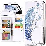 Google Pixel Wallet Case, YiLin Blue Feather 9 Card Slots Pu Leather Case Magnet Wallet Flip Cover Case for Google Pixel