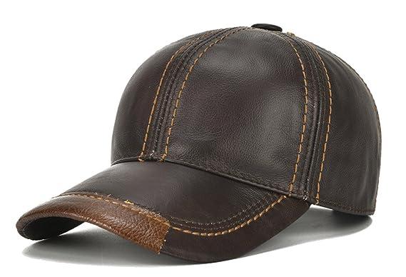 Roffatide Hombres Gorra de Béisbol de Cuero Ajustable Sombreros de ...