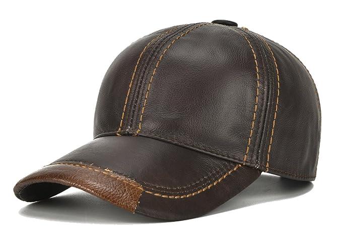 Roffatide Hombres Gorra de Béisbol de Cuero Ajustable Sombreros de Otoño e Invierno Marron Oscuro