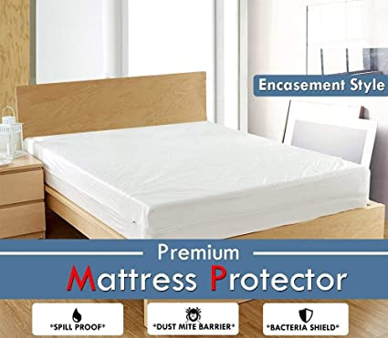 Single Bed Waterproof Mattress Protector White Terry Cotton Encasement Style Or Zipper Closer Style (Full 6 Inch Deep,36-by-76-inch)