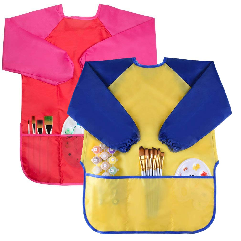 2 Pcs Kids Art Smock, Waterproof Children Art Aprons with 3 Large Pockets and Long Sleeve for Child 2 – 8 Years, Used for Children to Playing, Painting, Feeding (Paints and Brushes not included) XGCMY