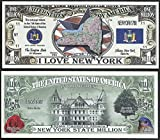 New York State Educational Million Dollar Bill W Map, Seal, Flag, Capitol - Lot of 100 Bills