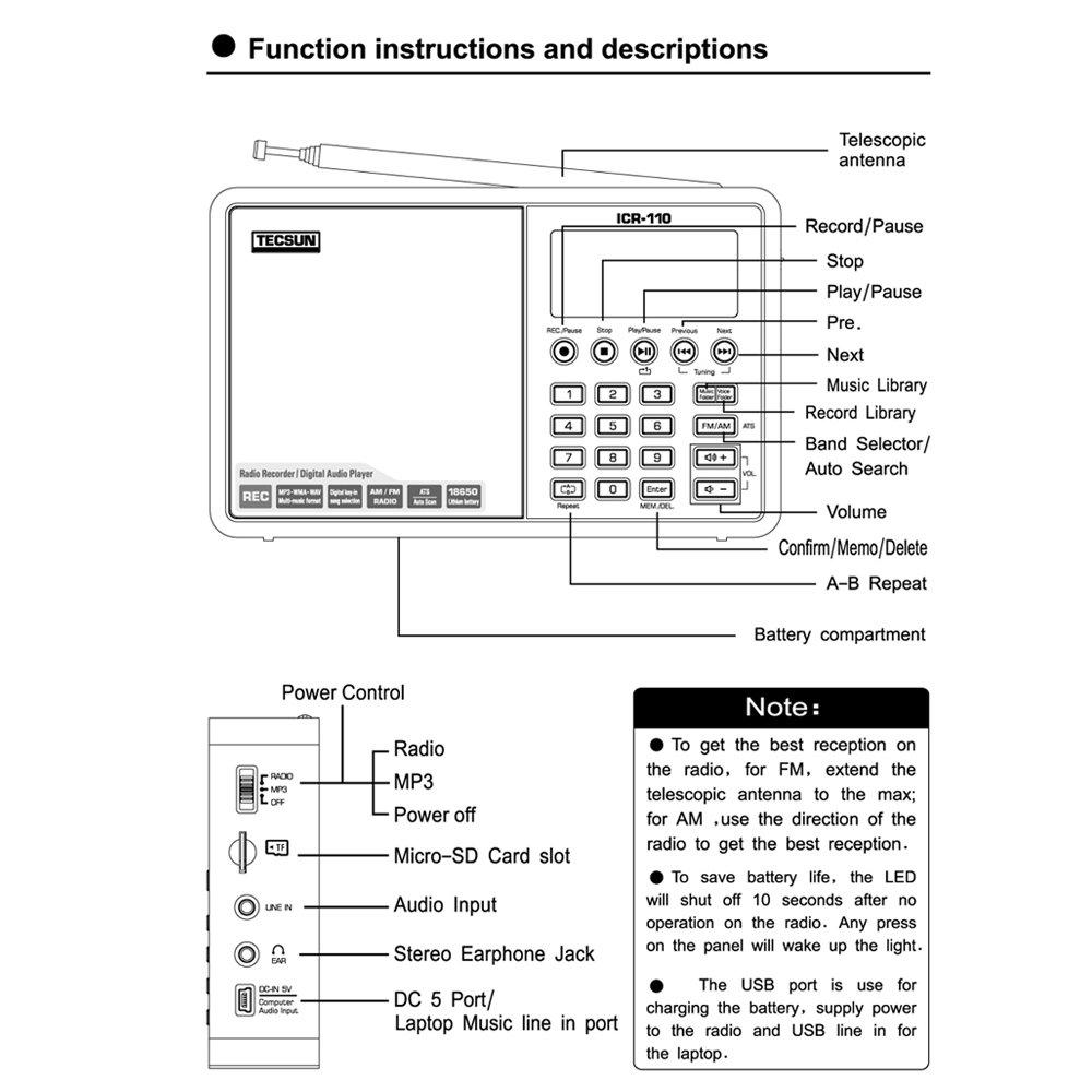 TECSUN ICR-110 TF Card MP3 Player Recorder fm am Radio (Silver)