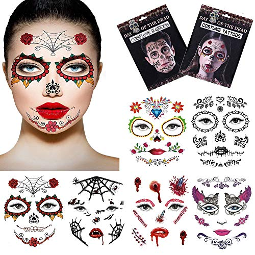 Halloween Temporary Face Tattoos,Silence Shopping Day of the