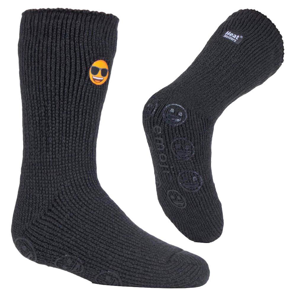 Heat Holders Children Boys Girls Emoji Non Slip 2.3 TOG Winter Warm Thermal Slipper Socks with Grippers