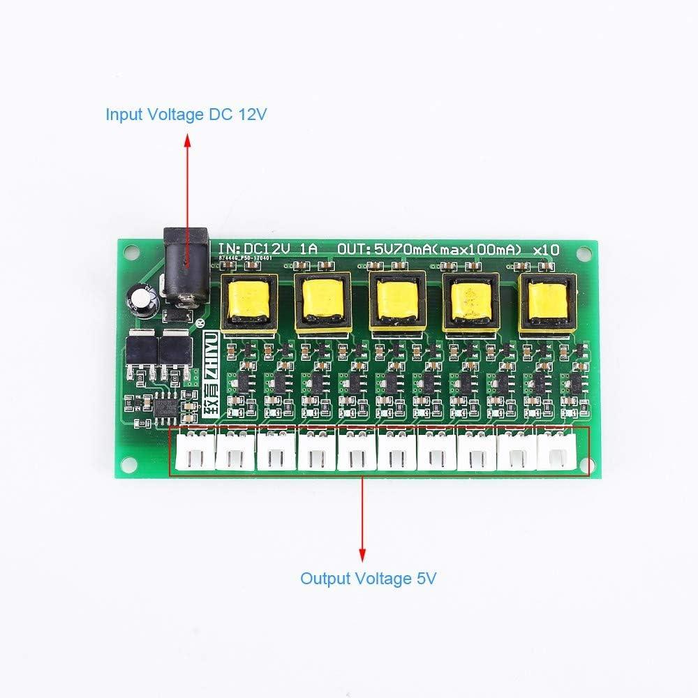 AILOVA Module Convertisseur de Tension DC-DC 12V /à 5V 70mA Module dalimentation 10 Canal Convertisseur Abaisseur de Tension de Sortie