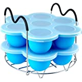 PRAMOO Silicone Egg Bites Molds and Steamer Rack Trivet with Handles for Instant Pot Accessories, 3pcs/set for 6qt & 8qt…